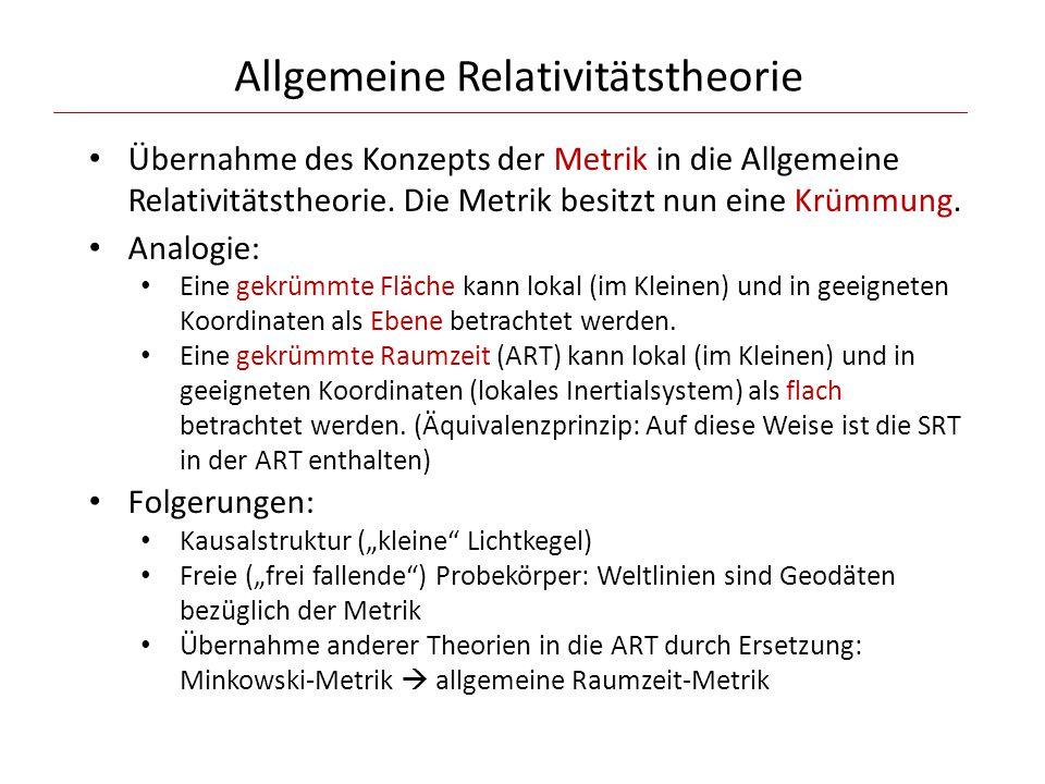 Allgemeine Relativitätstheorie Übernahme des Konzepts der Metrik in die Allgemeine Relativitätstheorie.