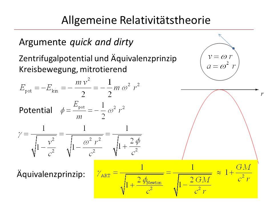 Allgemeine Relativitätstheorie Argumente quick and dirty Zentrifugalpotential und Äquivalenzprinzip Kreisbewegung, mitrotierend r Potential Äquivalenzprinzip: