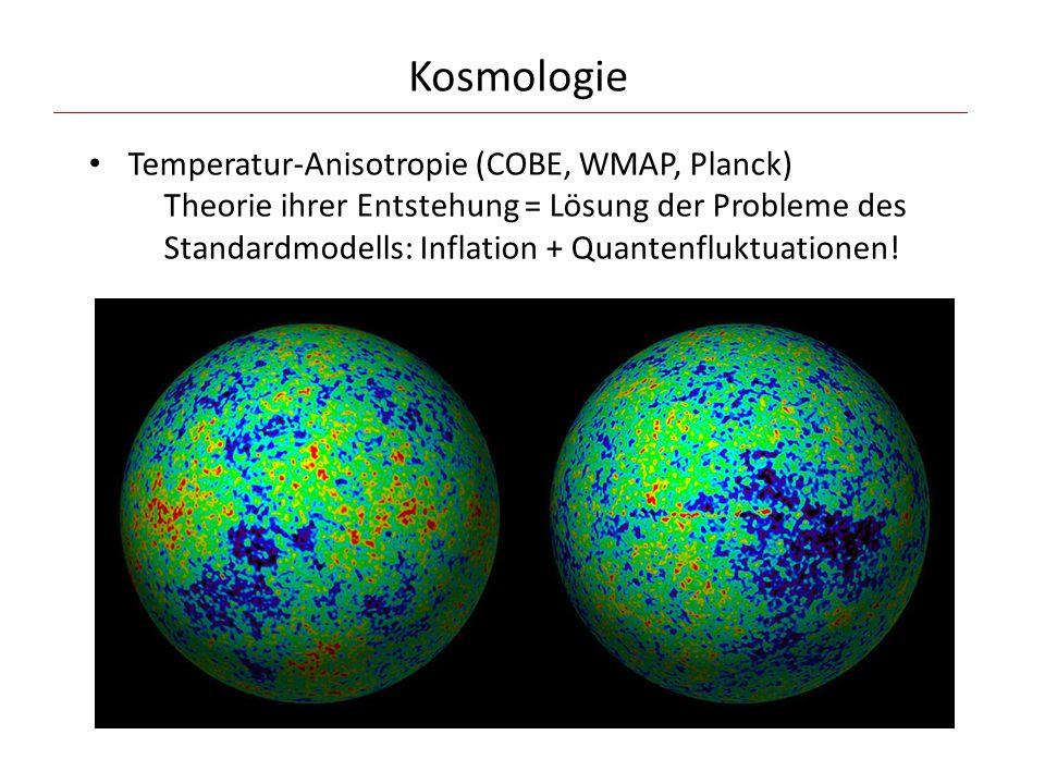 Kosmologie Temperatur-Anisotropie (COBE, WMAP, Planck) Theorie ihrer Entstehung = Lösung der Probleme des Standardmodells: Inflation + Quantenfluktuationen!