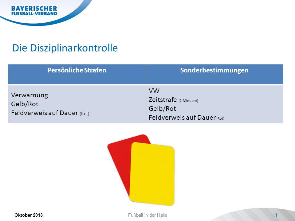Die Disziplinarkontrolle Persönliche StrafenSonderbestimmungen Verwarnung Gelb/Rot Feldverweis auf Dauer (Rot) VW Zeitstrafe (2 Minuten) Gelb/Rot Feldverweis auf Dauer (Rot) Oktober 2013Fußball in der Halle11