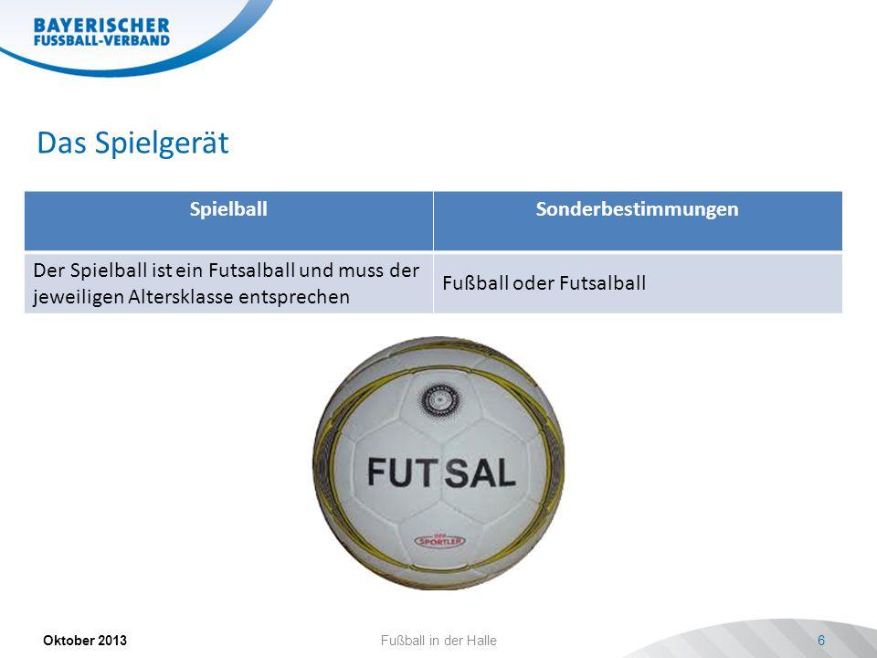 Das Spielgerät SpielballSonderbestimmungen Der Spielball ist ein Futsalball und muss der jeweiligen Altersklasse entsprechen Fußball oder Futsalball Oktober 2013Fußball in der Halle6