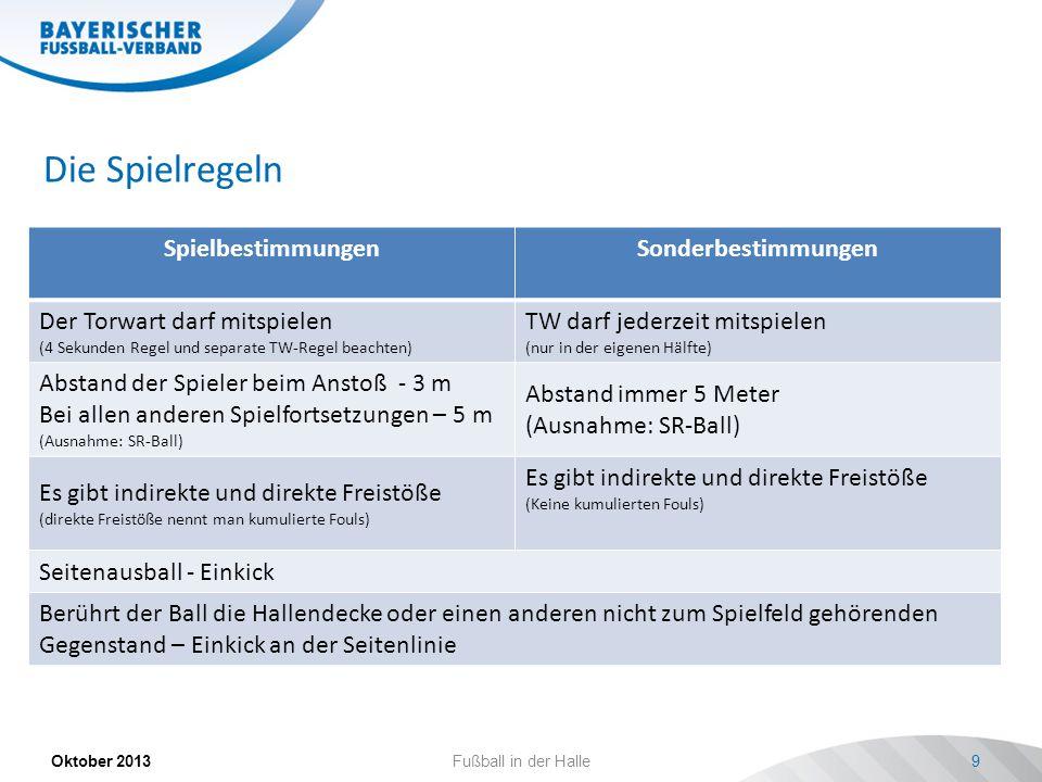 Die Spielregeln SpielbestimmungenSonderbestimmungen Der Torwart darf mitspielen (4 Sekunden Regel und separate TW-Regel beachten) TW darf jederzeit mitspielen (nur in der eigenen Hälfte) Abstand der Spieler beim Anstoß - 3 m Bei allen anderen Spielfortsetzungen – 5 m (Ausnahme: SR-Ball) Abstand immer 5 Meter (Ausnahme: SR-Ball) Es gibt indirekte und direkte Freistöße (direkte Freistöße nennt man kumulierte Fouls) Es gibt indirekte und direkte Freistöße (Keine kumulierten Fouls) Seitenausball - Einkick Berührt der Ball die Hallendecke oder einen anderen nicht zum Spielfeld gehörenden Gegenstand – Einkick an der Seitenlinie Oktober 2013Fußball in der Halle9