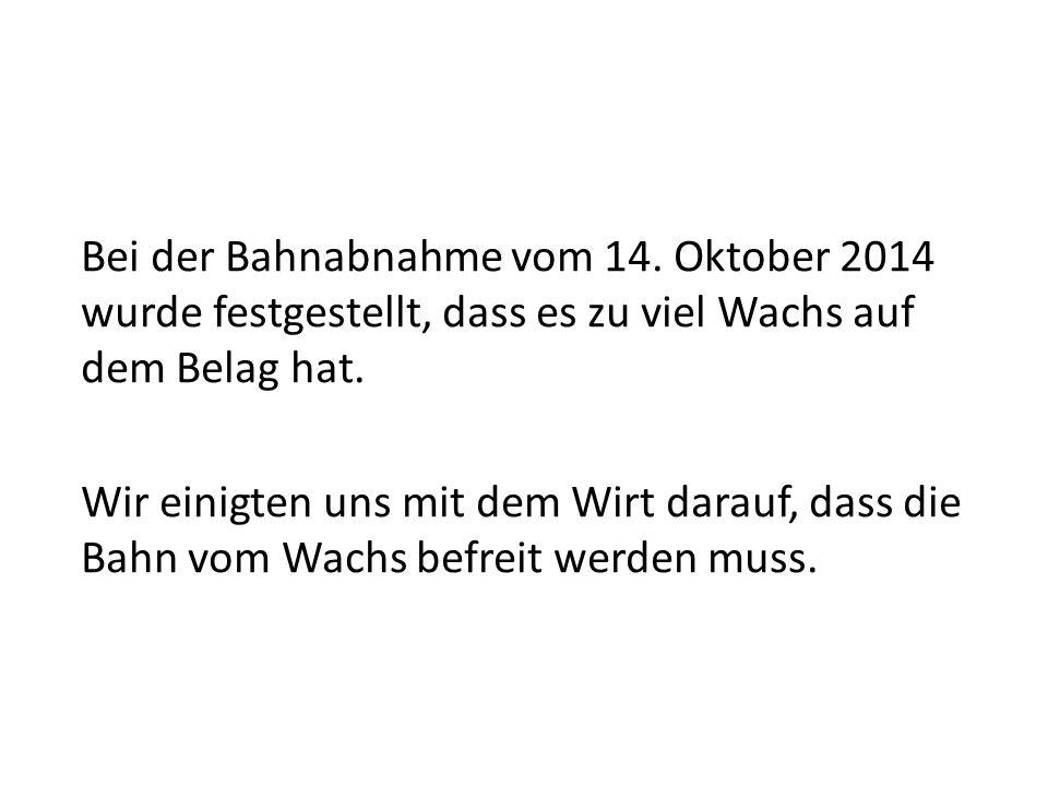 Kegelbahnpflege Restaurant Adler Riggisberg Bericht vom 12. Dezember 2014
