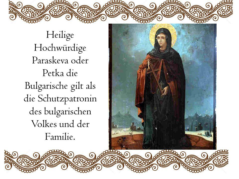 Heilige Hochwürdige Paraskeva oder Petka die Bulgarische gilt als die Schutzpatronin des bulgarischen Volkes und der Familie.