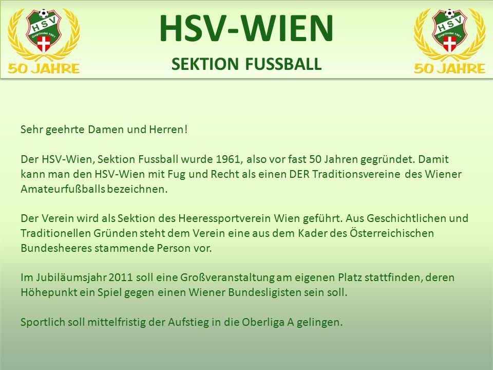Sehr geehrte Damen und Herren! Der HSV-Wien, Sektion Fussball wurde 1961, also vor fast 50 Jahren gegründet. Damit kann man den HSV-Wien mit Fug und R