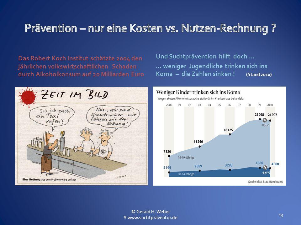 Das Robert Koch Institut schätzte 2004 den jährlichen volkswirtschaftlichen Schaden durch Alkoholkonsum auf 20 Milliarden Euro Und Suchtprävention hil