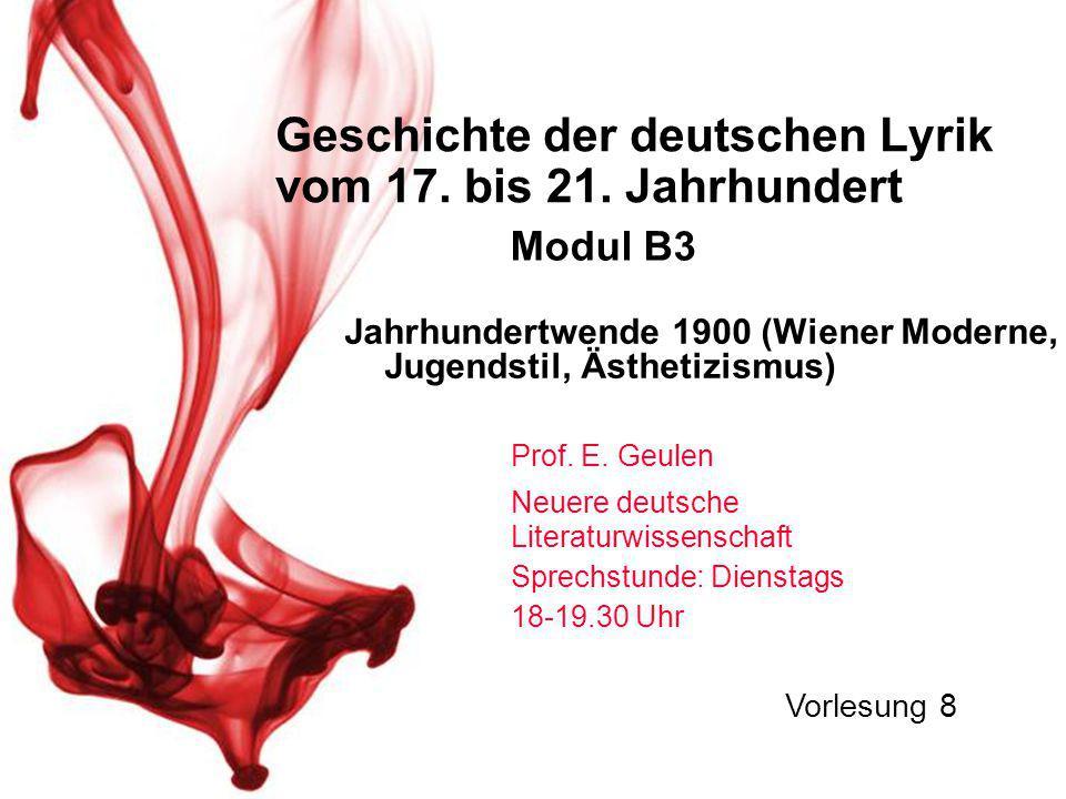 Geschichte der deutschen Lyrik vom 17. bis 21. Jahrhundert Prof.