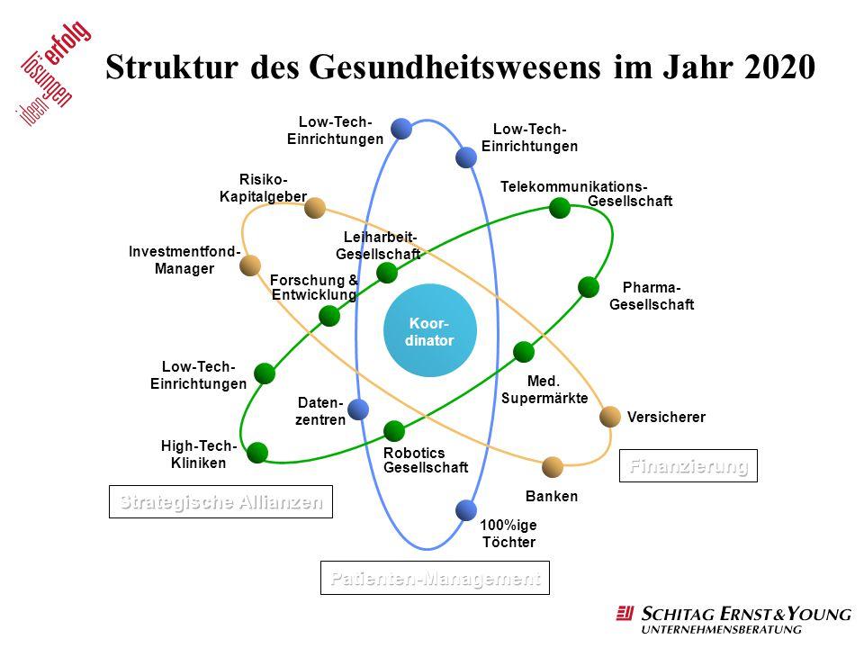 Struktur des Gesundheitswesens im Jahr 2020 Low-Tech- Einrichtungen Telekommunikations- Gesellschaft Pharma- Gesellschaft Med. Supermärkte Versicherer
