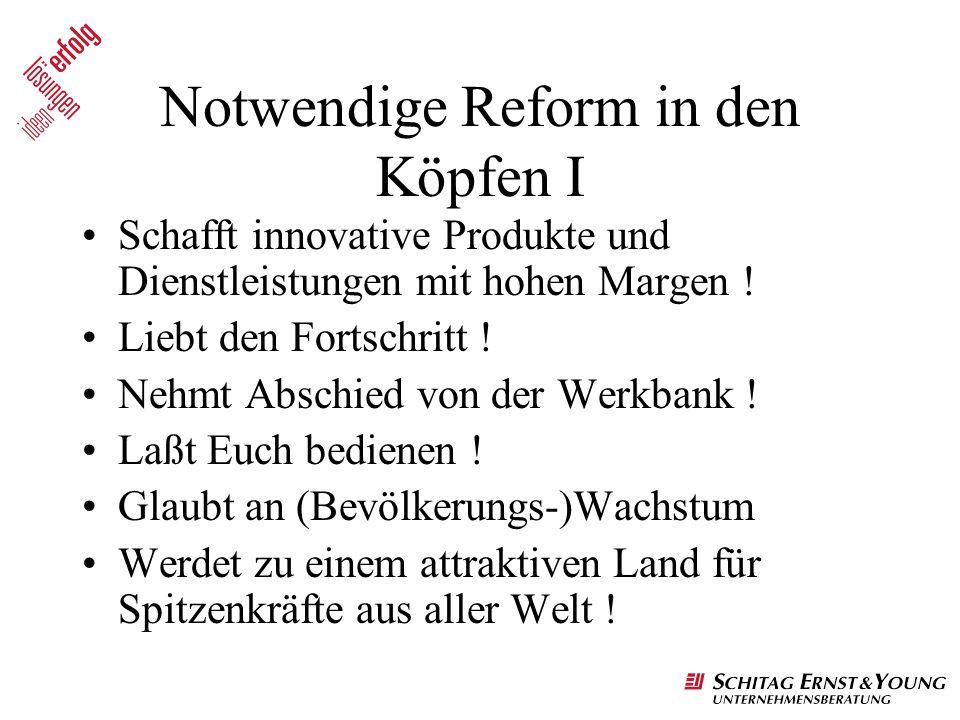 Notwendige Reform in den Köpfen I Schafft innovative Produkte und Dienstleistungen mit hohen Margen ! Liebt den Fortschritt ! Nehmt Abschied von der W