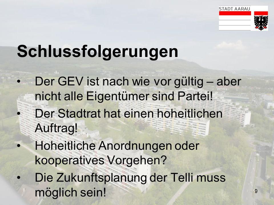 9 Schlussfolgerungen Der GEV ist nach wie vor gültig – aber nicht alle Eigentümer sind Partei! Der Stadtrat hat einen hoheitlichen Auftrag! Hoheitlich