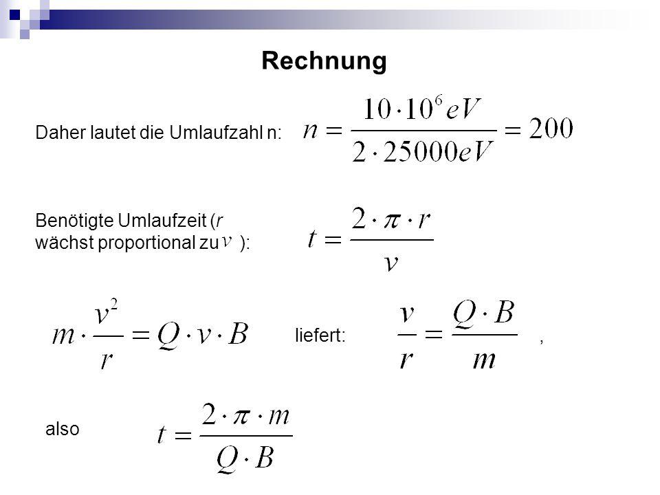 Rechnung Daher lautet die Umlaufzahl n: Benötigte Umlaufzeit (r wächst proportional zu ): liefert: also,