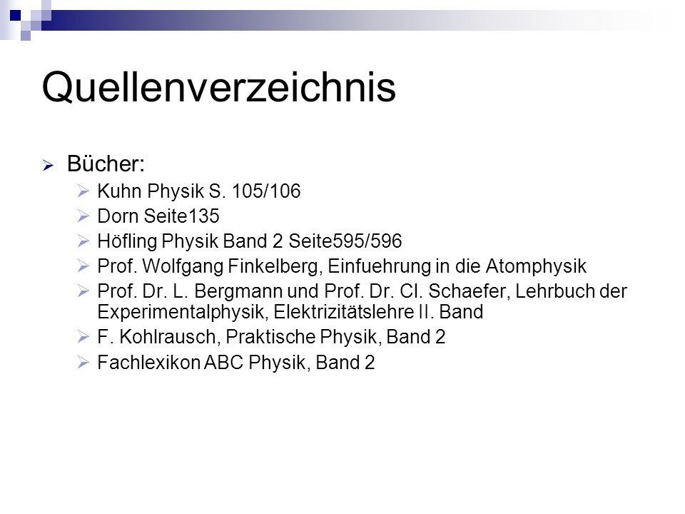 Quellenverzeichnis  Bücher:  Kuhn Physik S. 105/106  Dorn Seite135  Höfling Physik Band 2 Seite595/596  Prof. Wolfgang Finkelberg, Einfuehrung in