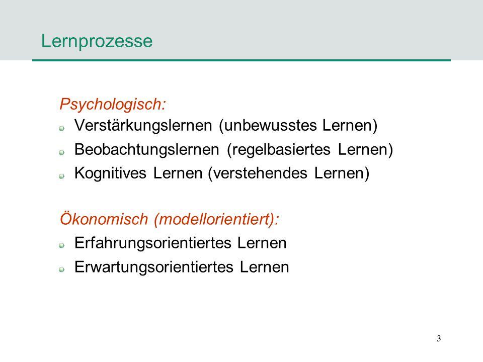 3 Lernprozesse Psychologisch: Verstärkungslernen (unbewusstes Lernen) Beobachtungslernen (regelbasiertes Lernen) Kognitives Lernen (verstehendes Lerne