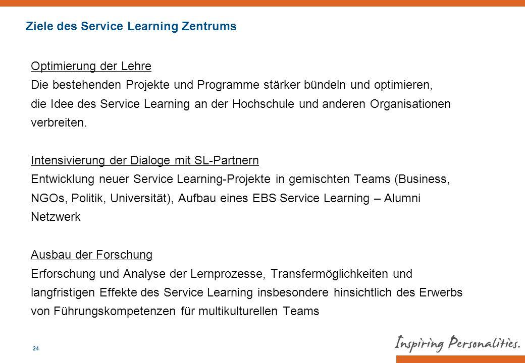 Optimierung der Lehre Die bestehenden Projekte und Programme stärker bündeln und optimieren, die Idee des Service Learning an der Hochschule und ander