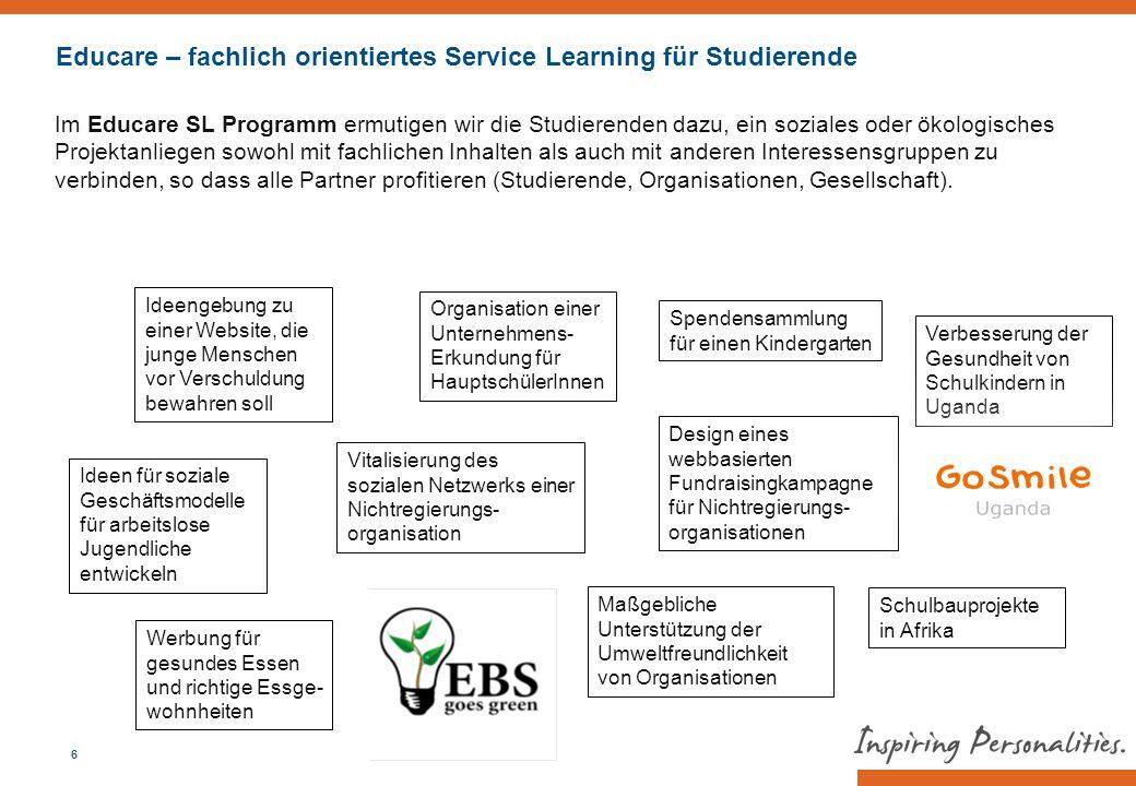 Im Educare SL Programm ermutigen wir die Lehrenden dazu, die fachliche Betreuung eines Educare-Projektes zu übernehmen.
