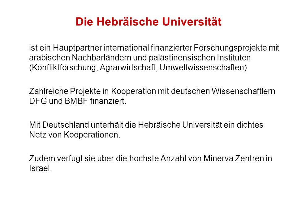 Die Hebräische Universität ist ein Hauptpartner international finanzierter Forschungsprojekte mit arabischen Nachbarländern und palästinensischen Instituten (Konfliktforschung, Agrarwirtschaft, Umweltwissenschaften) Zahlreiche Projekte in Kooperation mit deutschen Wissenschaftlern DFG und BMBF finanziert.