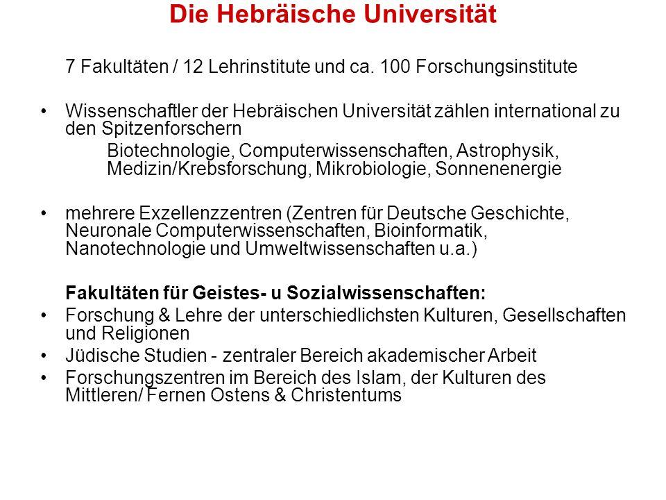 Die Hebräische Universität 7 Fakultäten / 12 Lehrinstitute und ca.