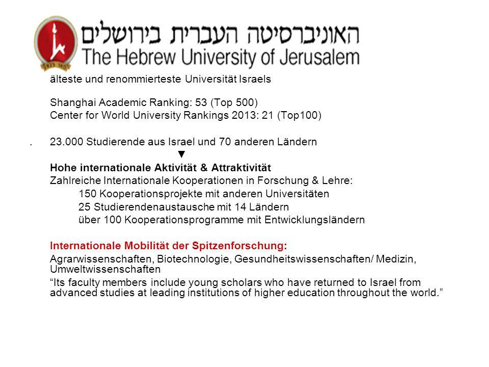 älteste und renommierteste Universität Israels Shanghai Academic Ranking: 53 (Top 500) Center for World University Rankings 2013: 21 (Top100).