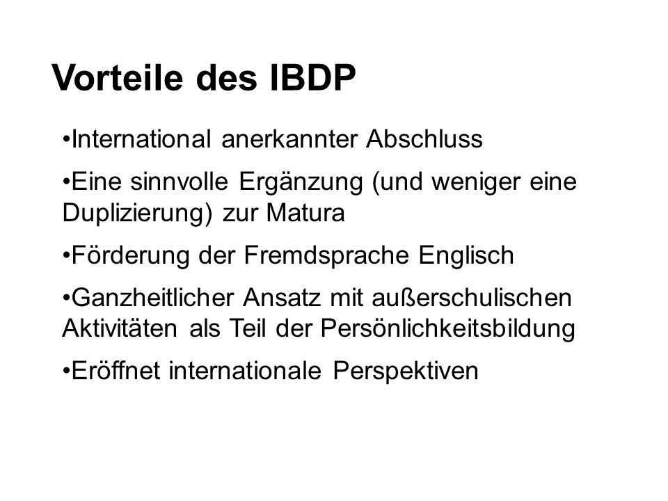 Vorteile des IBDP International anerkannter Abschluss Eine sinnvolle Ergänzung (und weniger eine Duplizierung) zur Matura Förderung der Fremdsprache E