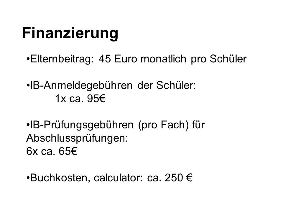 Finanzierung Elternbeitrag: 45 Euro monatlich pro Schüler IB-Anmeldegebühren der Schüler: 1x ca. 95€ IB-Prüfungsgebühren (pro Fach) für Abschlussprüfu