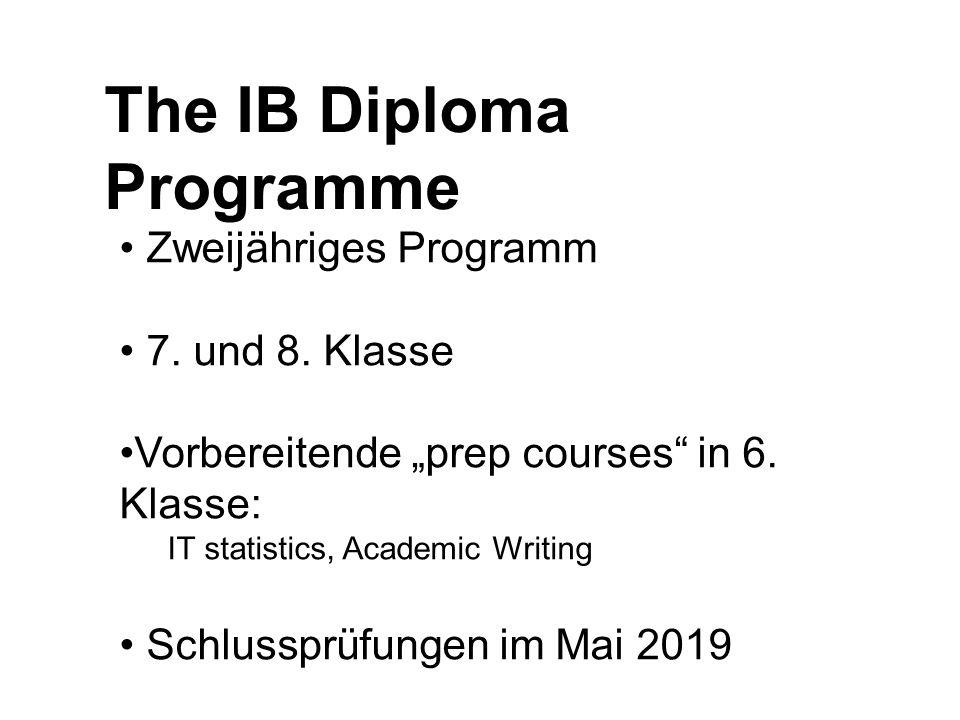 """The IB Diploma Programme Zweijähriges Programm 7. und 8. Klasse Vorbereitende """"prep courses"""" in 6. Klasse: IT statistics, Academic Writing Schlussprüf"""