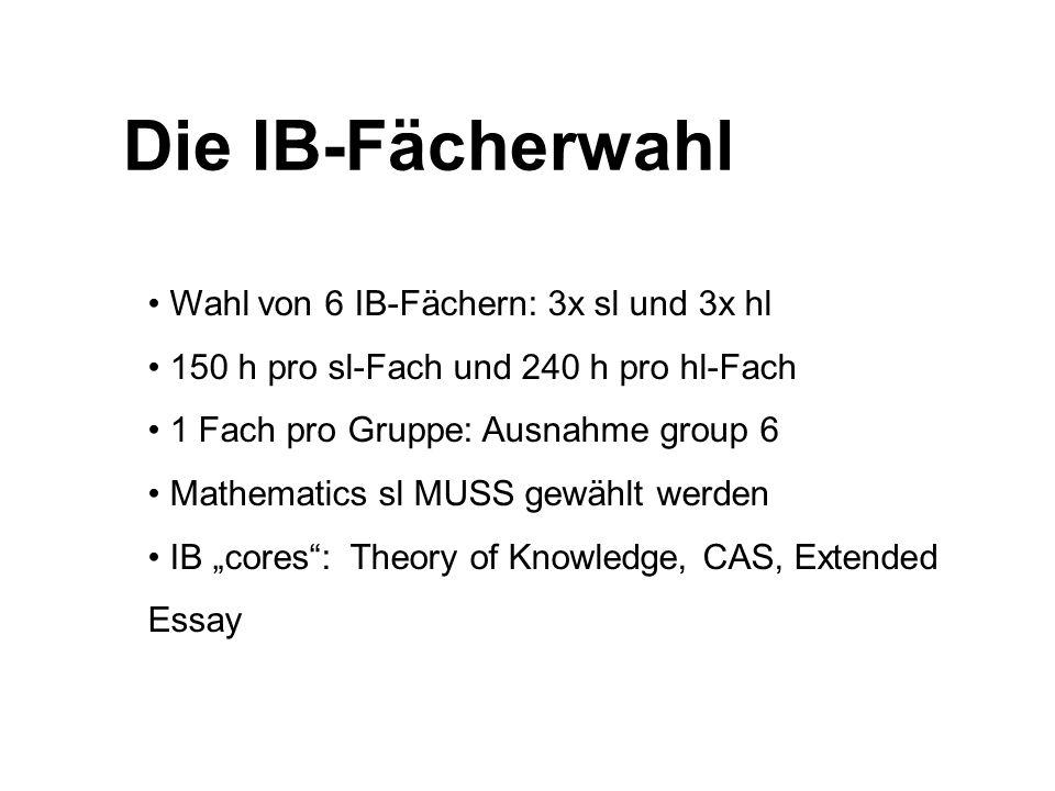 Die IB-Fächerwahl Wahl von 6 IB-Fächern: 3x sl und 3x hl 150 h pro sl-Fach und 240 h pro hl-Fach 1 Fach pro Gruppe: Ausnahme group 6 Mathematics sl MU
