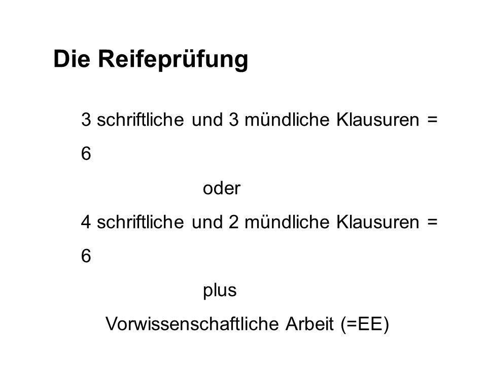 Die Reifeprüfung 3 schriftliche und 3 mündliche Klausuren = 6 oder 4 schriftliche und 2 mündliche Klausuren = 6 plus Vorwissenschaftliche Arbeit (=EE)