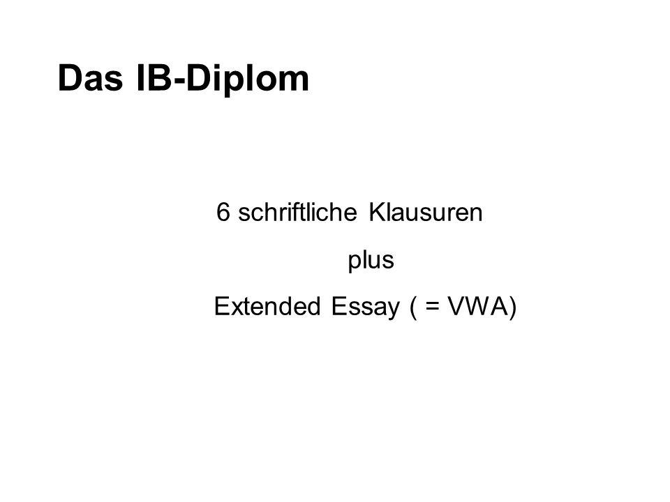 Das IB-Diplom 6 schriftliche Klausuren plus Extended Essay ( = VWA)