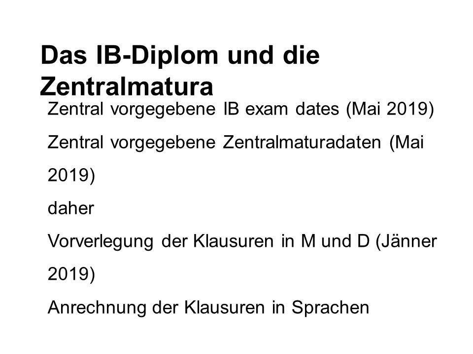 Das IB-Diplom und die Zentralmatura Zentral vorgegebene IB exam dates (Mai 2019) Zentral vorgegebene Zentralmaturadaten (Mai 2019) daher Vorverlegung
