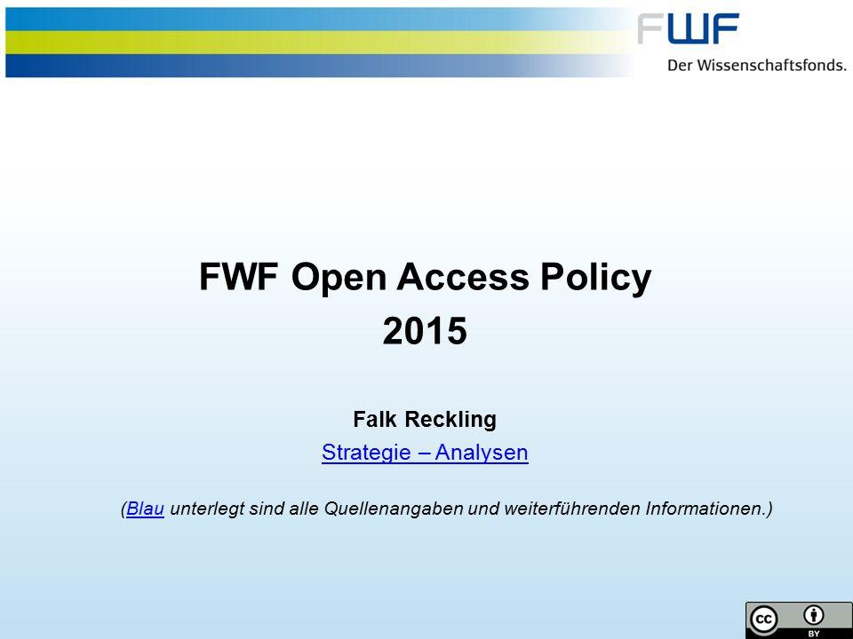 12 Internationale Entwicklungen Europäische KommissionEuropäische Kommission (Juli 2012)  Empfehlungen an die Mitgliedsstaaten: 60% Open Access bis 2016 DänemarkDänemark (Juli 2014)  80% Open Access bis 2017 und 100% bis 2022 DeutschlandDeutschland (Juli 2014)  Aufbauend auf den Aktivitäten der Wissenschaftsorganisationen plant die Bundesregierung eine umfassende Strategie für Open Access und Open Data SchwedenSchweden (Jänner 2015)  100% bis 2025 GroßbritannienGroßbritannien (März 2014)  ab 2016 werden für Evaluationen (Research Excellence Framework) nur noch Publikationen mit Open Access herangezogen + OA VerlagsvereinbarungenResearch Excellence FrameworkVerlagsvereinbarungen NiederlandeNiederlande (Dezember 2014)  60% Open Access bis 2016 und 100% bis 2024 + OA VerlagsvereinbarungenVerlagsvereinbarungen