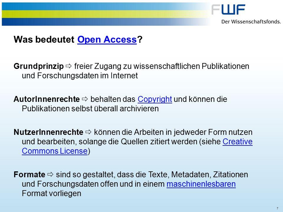 18 Übersicht der FWF Open Access Aktivitäten  Finanzierung von Publikationskosten bei Zeitschriftenpublikationen bis drei Jahre nach Projektende (seit 2001)Zeitschriftenpublikationen  OA Policy mit Verpflichtung zu Green, Gold oder Hybrid (seit 2008) OA Policy  Beteiligung an Europe PubMedCentral (seit 2010, verlängert bis 2021)Europe PubMedCentral  weltweit erstes OA Buchprogramm seit 2009  FWF E-Book Library (280 Bücher)OA BuchprogrammFWF E-Book Library  Initiierung des Open Access Network Austria (OANA)  Empfehlungen 2015OANA  Förderung des Repositoriums arXivarXiv  Mitfinanzierung von SCOAP³ = Umstieg der Hochenergiephysik-ZeitschriftenSCOAP³  Förderung von 8 OA-Zeitschriften aus den Geistes- und SozialwissenschaftenOA-Zeitschriften  Mit Wellcome Trust, RCUK, MPG u.a.