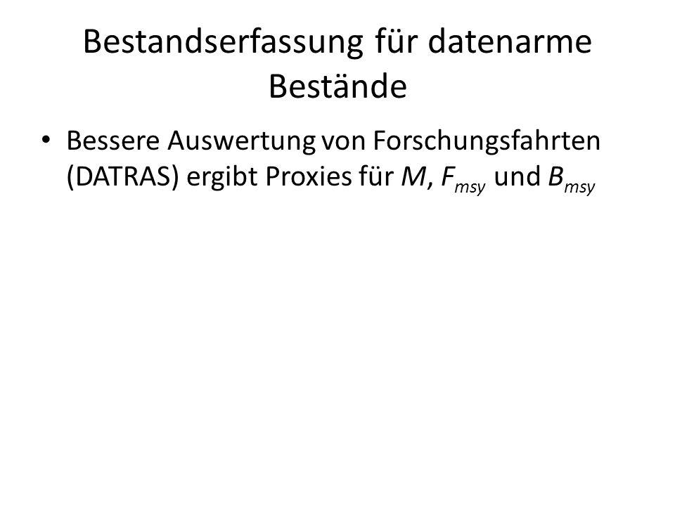 Bestandserfassung für datenarme Bestände Bessere Auswertung von Forschungsfahrten (DATRAS) ergibt Proxies für M, F msy und B msy