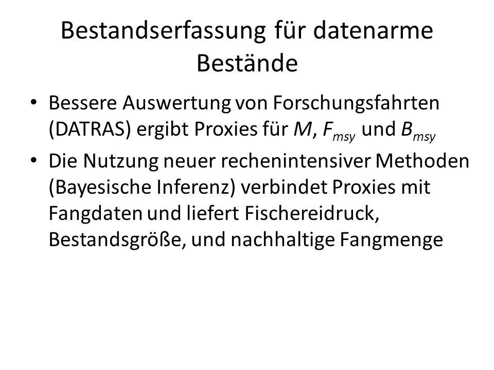 Bestandserfassung für datenarme Bestände Bessere Auswertung von Forschungsfahrten (DATRAS) ergibt Proxies für M, F msy und B msy Die Nutzung neuer rec