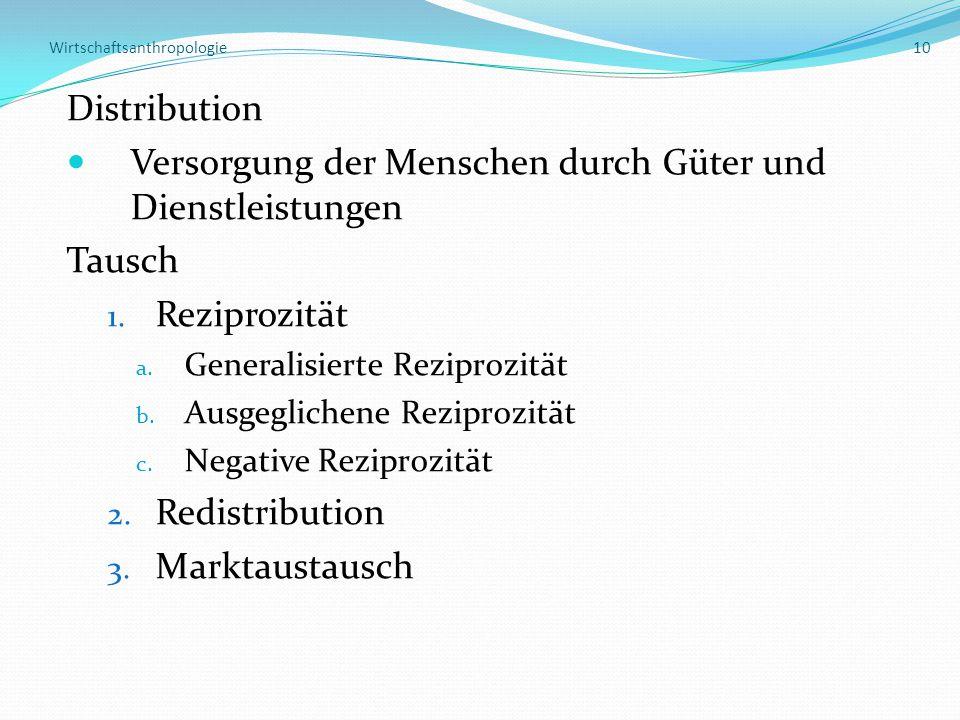 Wirtschaftsanthropologie 10 Distribution Versorgung der Menschen durch Güter und Dienstleistungen Tausch 1.