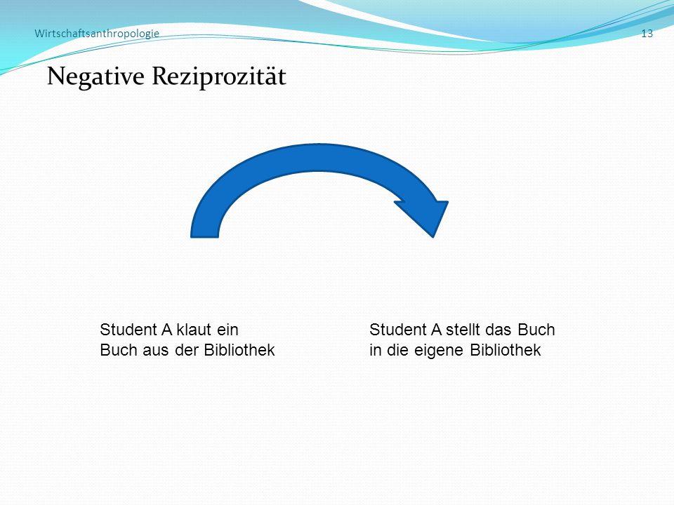 Wirtschaftsanthropologie 13 Negative Reziprozität Student A klaut einStudent A stellt das Buch Buch aus der Bibliothekin die eigene Bibliothek