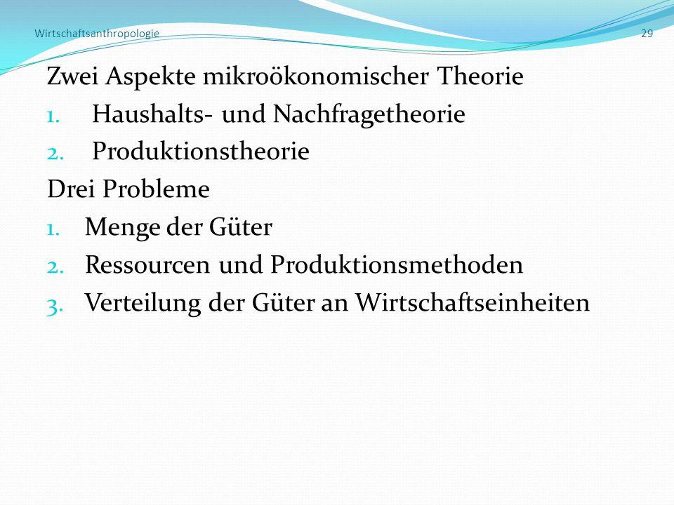 Wirtschaftsanthropologie 29 Zwei Aspekte mikroökonomischer Theorie 1. Haushalts- und Nachfragetheorie 2. Produktionstheorie Drei Probleme 1. Menge der