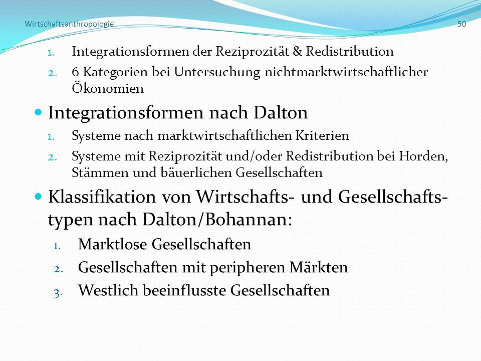Wirtschaftsanthropologie 50 1.Integrationsformen der Reziprozität & Redistribution 2.