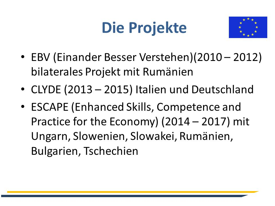 Die Projekte EBV (Einander Besser Verstehen)(2010 – 2012) bilaterales Projekt mit Rumänien CLYDE (2013 – 2015) Italien und Deutschland ESCAPE (Enhanced Skills, Competence and Practice for the Economy) (2014 – 2017) mit Ungarn, Slowenien, Slowakei, Rumänien, Bulgarien, Tschechien