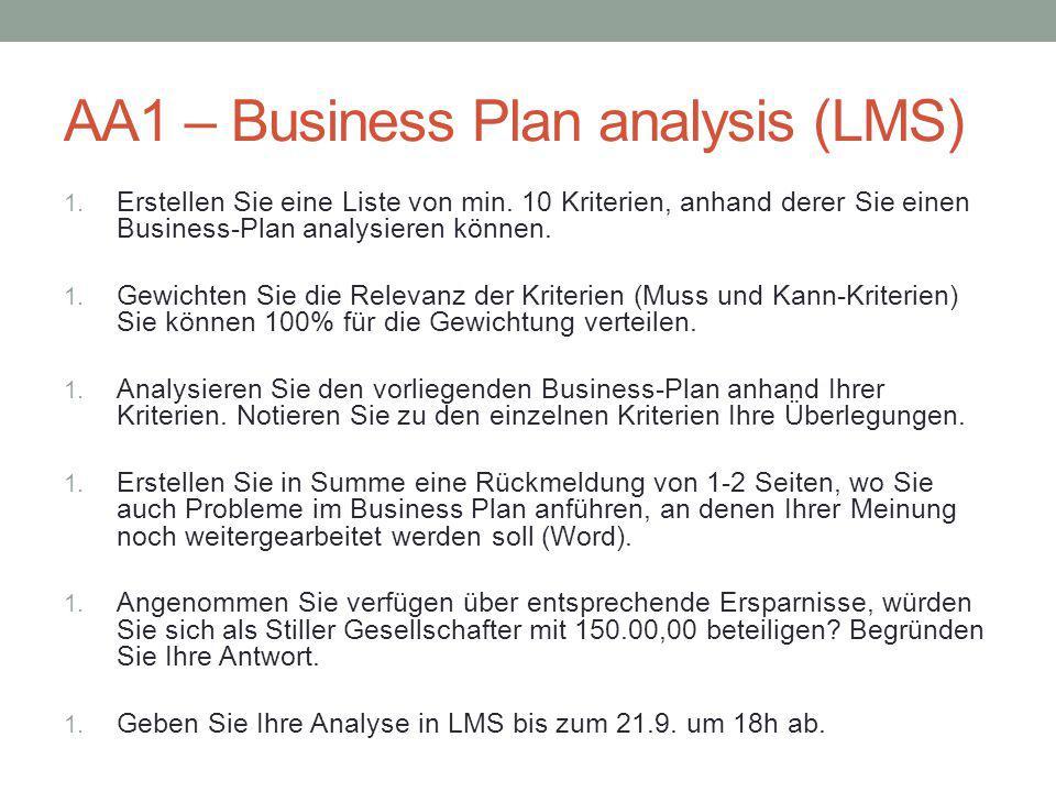 AA1 – Business Plan analysis (LMS) 1. Erstellen Sie eine Liste von min. 10 Kriterien, anhand derer Sie einen Business-Plan analysieren können. 1. Gewi