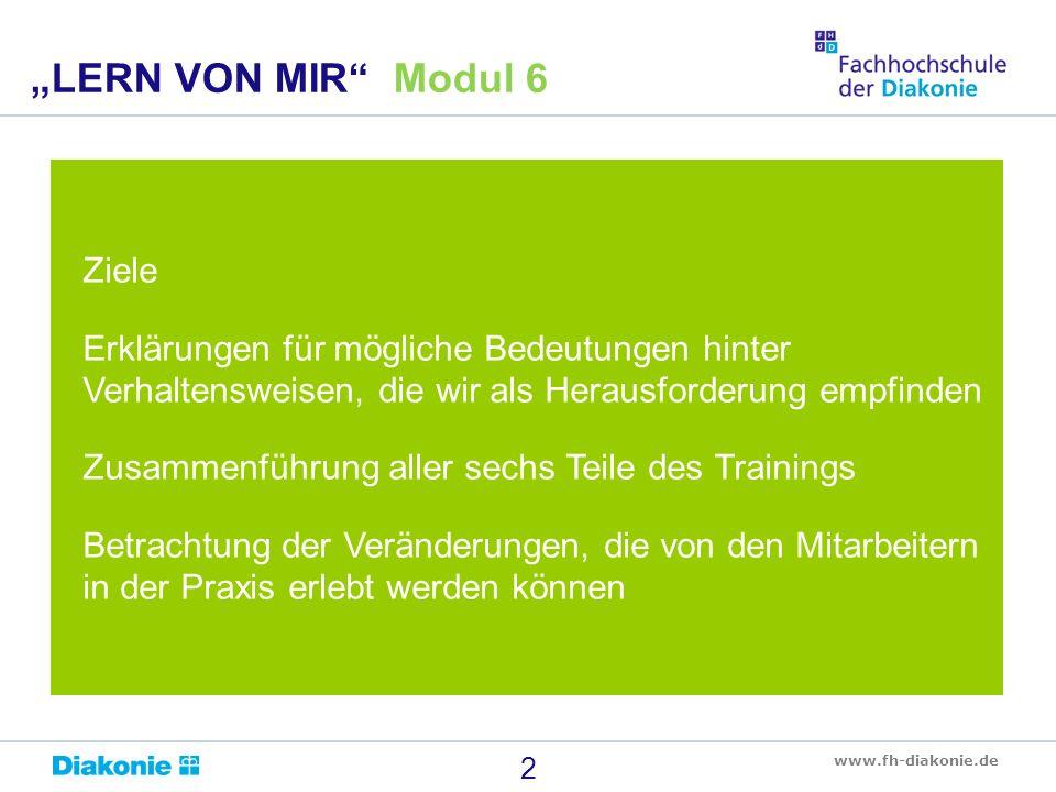 www.fh-diakonie.de Ziele Erklärungen für mögliche Bedeutungen hinter Verhaltensweisen, die wir als Herausforderung empfinden Zusammenführung aller sec
