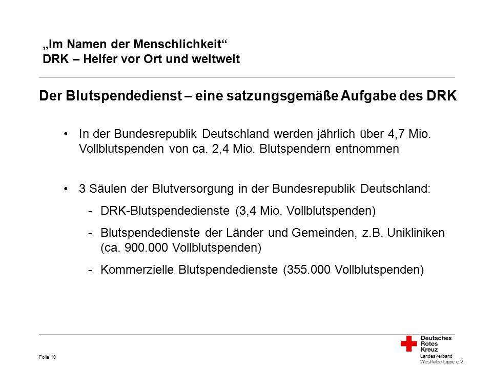 """Landesverband Westfalen-Lippe e.V. """"Im Namen der Menschlichkeit"""" DRK – Helfer vor Ort und weltweit Der Blutspendedienst – eine satzungsgemäße Aufgabe"""