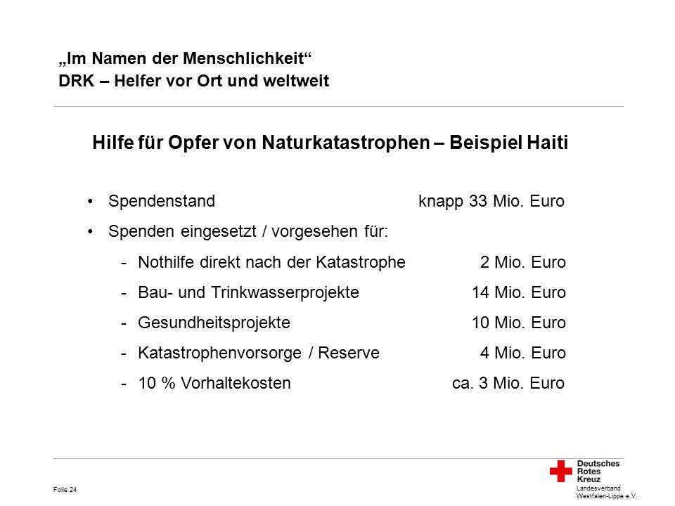 """Landesverband Westfalen-Lippe e.V. """"Im Namen der Menschlichkeit"""" DRK – Helfer vor Ort und weltweit Hilfe für Opfer von Naturkatastrophen – Beispiel Ha"""