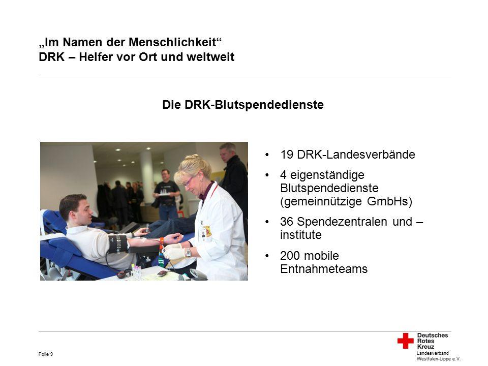 """Landesverband Westfalen-Lippe e.V. """"Im Namen der Menschlichkeit"""" DRK – Helfer vor Ort und weltweit 19 DRK-Landesverbände 4 eigenständige Blutspendedie"""
