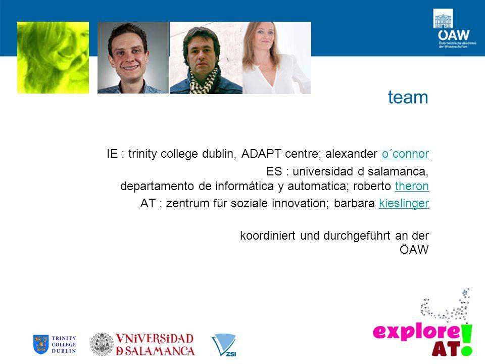 team IE : trinity college dublin, ADAPT centre; alexander o´connoro´connor ES : universidad d salamanca, departamento de informática y automatica; rob