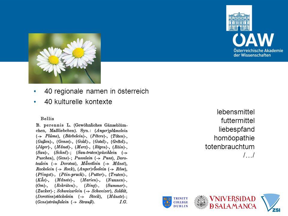 40 regionale namen in österreich 40 kulturelle kontexte lebensmittel futtermittel liebespfand homöopathie totenbrauchtum /…/