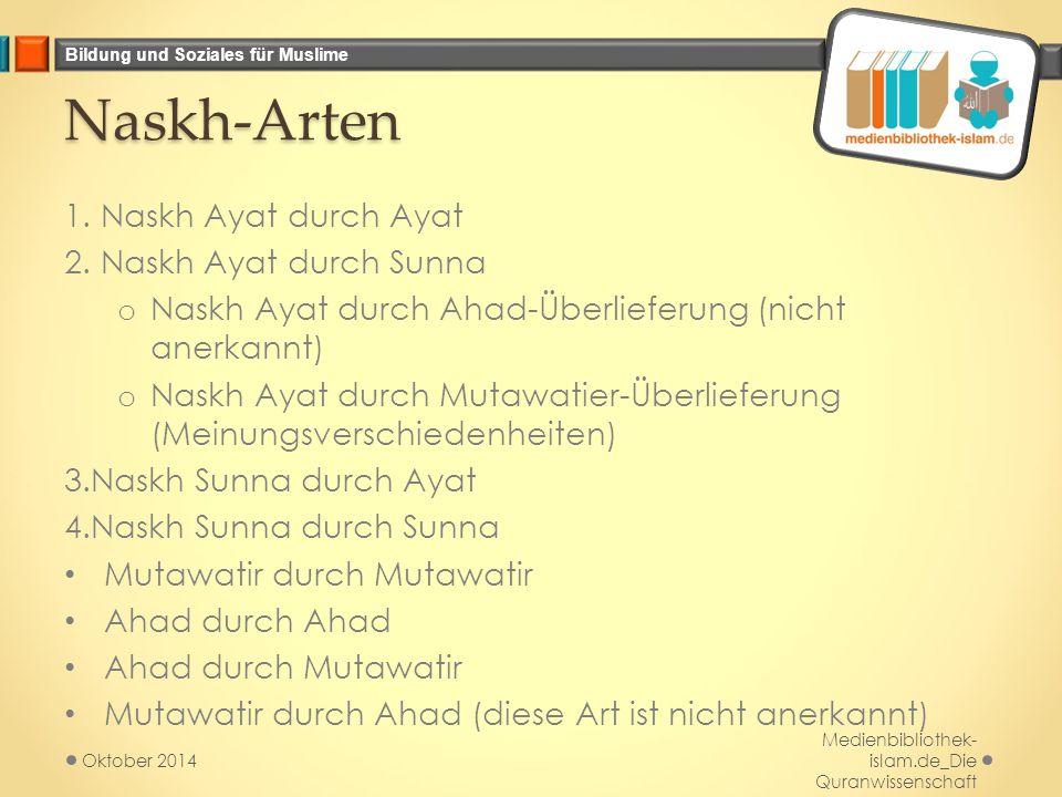 Bildung und Soziales für Muslime Naskh-Arten 1. Naskh Ayat durch Ayat 2. Naskh Ayat durch Sunna o Naskh Ayat durch Ahad-Überlieferung (nicht anerkannt