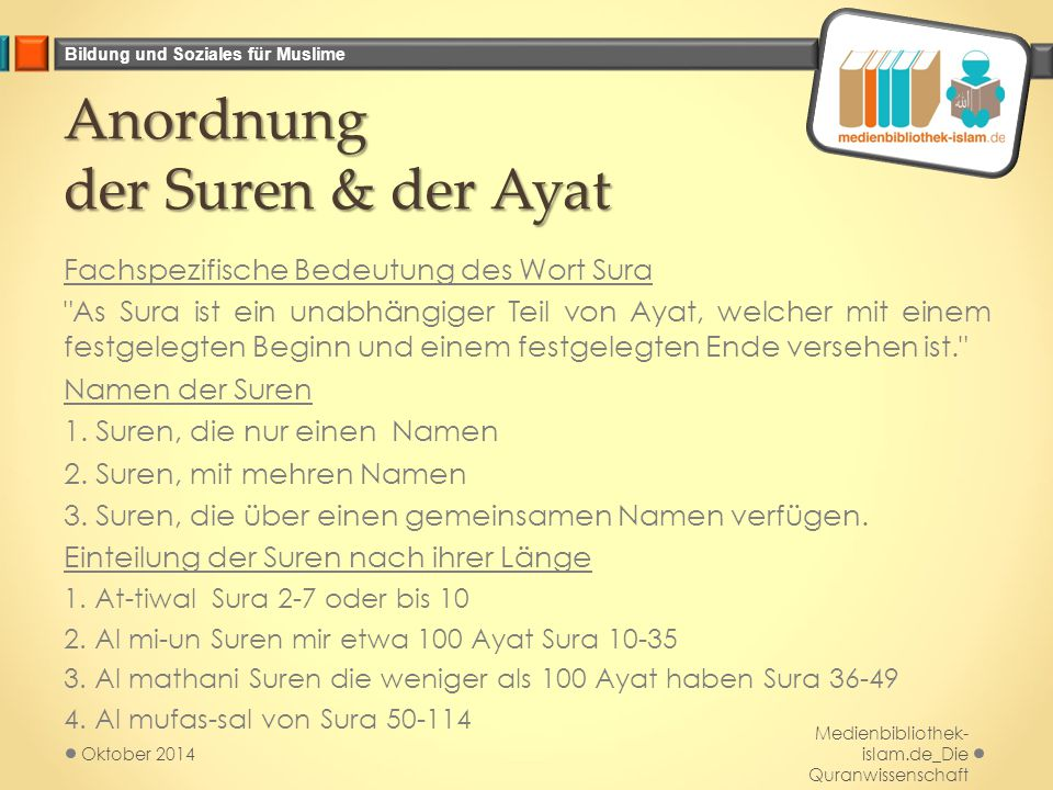 Bildung und Soziales für Muslime Anordnung der Suren & der Ayat Fachspezifische Bedeutung des Wort Sura
