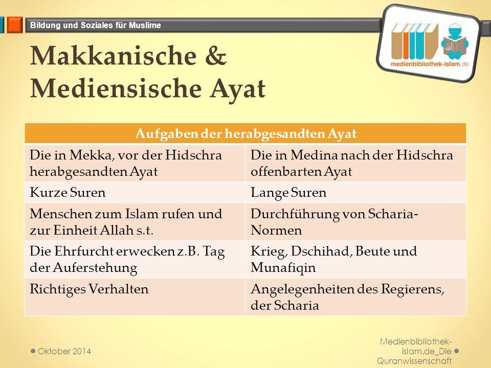 Bildung und Soziales für Muslime Makkanische & Mediensische Ayat Aufgaben der herabgesandten Ayat Die in Mekka, vor der Hidschra herabgesandten Ayat D
