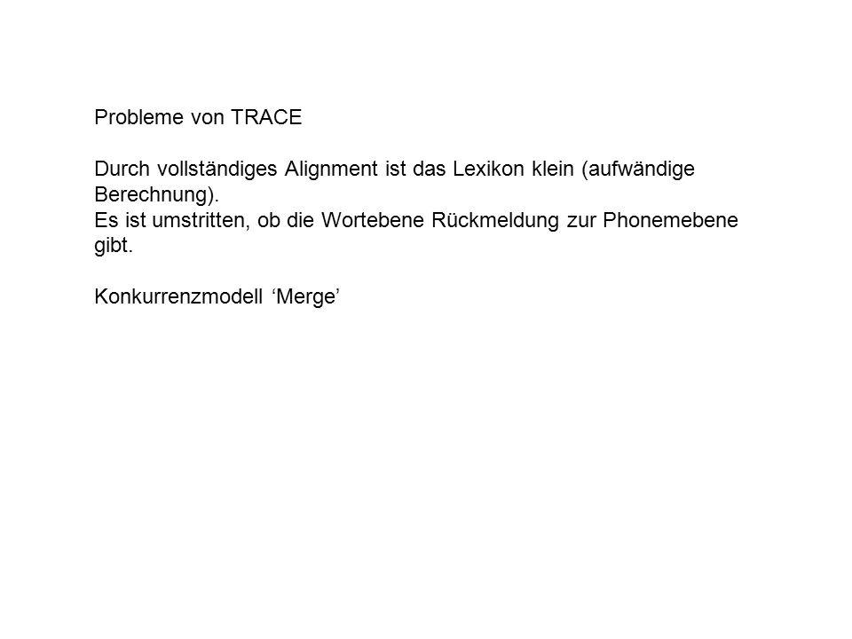 Probleme von TRACE Durch vollständiges Alignment ist das Lexikon klein (aufwändige Berechnung).