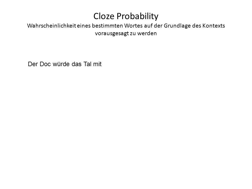 Cloze Probability Wahrscheinlichkeit eines bestimmten Wortes auf der Grundlage des Kontexts vorausgesagt zu werden Der Doc würde das Tal mit